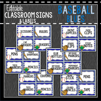 Baseball Blues Decor: Editable Classroom Signs & Labels