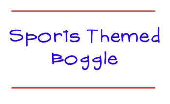 Baseball Boggle: Sports Themed Boggle Game