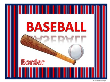 Baseball Border (Red, White and Blue)