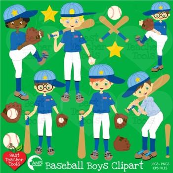 Baseball Clipart, Sports Clipart, Boys Clip Art, {Best Teacher Tools}, AMB-227