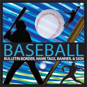 Baseball Bulletin Border, Editable Banner & Name Tags, & E
