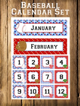 Baseball Calendar Set - Months - Days - Numbers