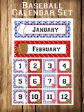 Baseball Calendar Set - Months - Days - Numbers
