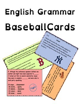 Interactive English Grammar Baseball Cards