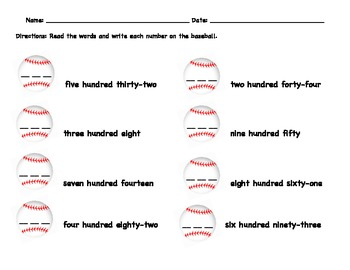 Baseball Centers Place Value and More