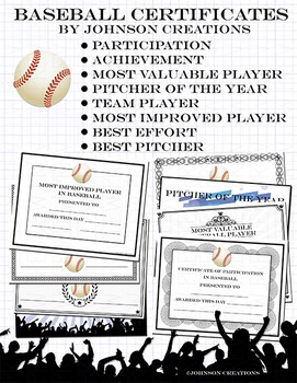 baseball certificates by johnson creations teachers pay teachers