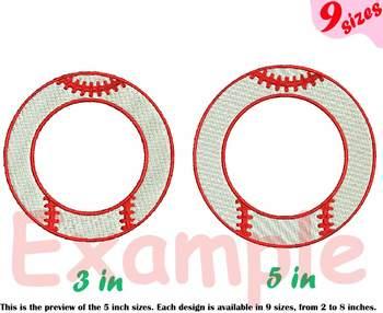 Baseball Circle Embroidery Design Strings ball bat team frames frame 218b