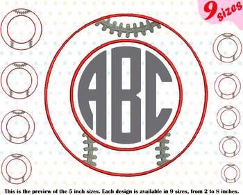 Baseball Circle Outline Embroidery Design Strings ball team frames frame 219b