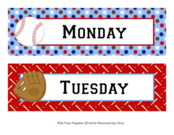 Baseball Classroom Decor Days of the Week Calendar Headers