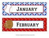 Baseball Classroom Decor Monthly Calendar Headers