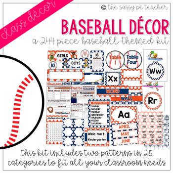 Baseball Classroom Decor Pack (Orange & Navy)