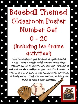 Baseball Classroom Numbers Poster Set w/Ten Frames, Activities, & Flashcards
