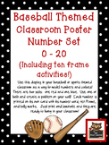 Baseball Classroom Numbers Poster Set w/Ten Frames, Activities, & Flashcards