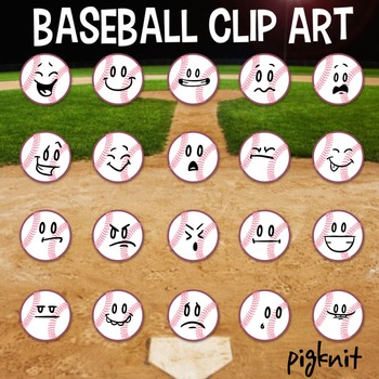 Baseball Clip Art, Emoticon, Facial Expressions, Sports Clip Art, Baseball Art