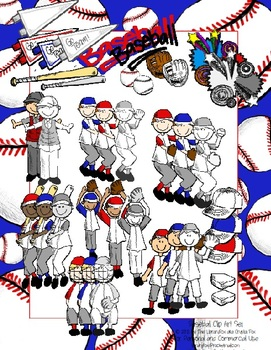 Baseball Clip Art Set for Personal or Commercial Use