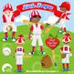 Baseball Clipart, Sports Clipart, Baseball Boys Clip Art, Blue and Red, AMB-1219