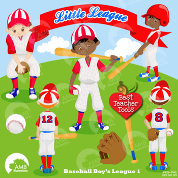 Baseball Clipart, Sports Clipart, Baseball Boys Clip Art, Blue and Red, AMB-1219
