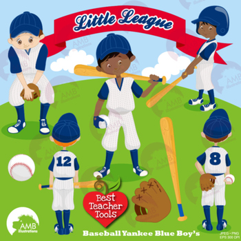 Baseball Clipart, Sports Clipart, Baseball Boys Clip Art, Yankee Blue, AMB-1227