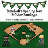 Baseball Close Reading for Grades 6-12 ELA