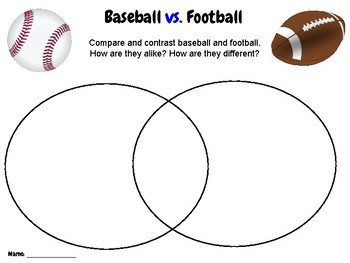 Baseball - Compare & Contrast Writing Activity