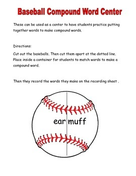 Baseball Compound Word Center Activity