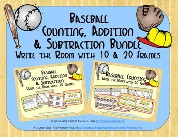 Baseball Count, Add & Subtract Bundle with 10 & 20 Frames {Subitizing}
