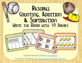 Baseball Counting, Addition & Subtraction with Ten Frames