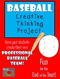 Baseball Creative Thinking Project Activity First Second Third Gifted printable
