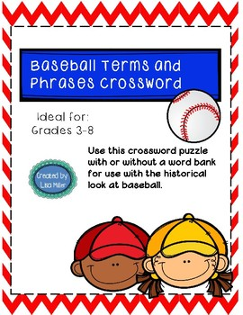 Baseball Crossword Vocabulary Words with historical references