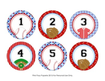 Baseball Cubby Number Labels 1-30