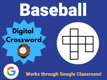 Baseball - Digital Crossword (works with Google Sheets, Classroom)