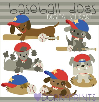 Baseball Dogs Digital Clip Art