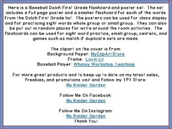Baseball Dolch 1st Grade High Frequency Words / Sight Word Flashcards & Posters