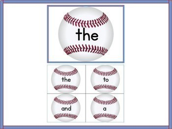 Baseball Dolch PrePrimer-3rd Grd High Frequency Sight Word Flashcards & Posters