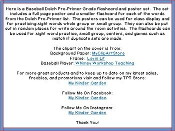 Baseball Dolch Pre-Primer High Frequency Words Sight Word Flashcards & Posters