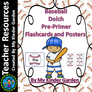 Baseball Dolch Pre-Primer Sight Word Flashcards and Posters