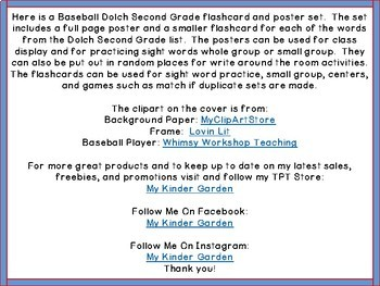 Baseball Dolch 2nd Grade High Frequency Words / Sight Word Flashcards & Posters