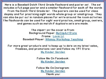 Baseball Dolch 3rd Grade High Frequency Words / Sight Word Flashcards & Posters