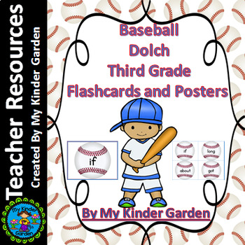 Baseball Dolch Third Grade Sight Word Flashcards and Posters