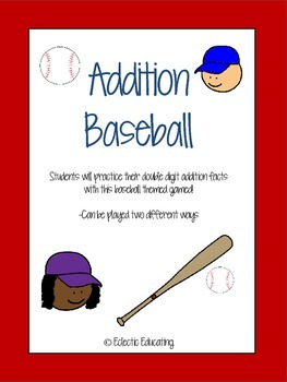 Baseball Double Digit Addition Game