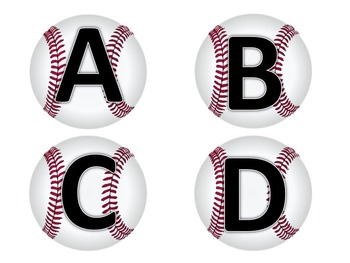Baseball Letters, Sound and Number Recognition Flashcards and Game