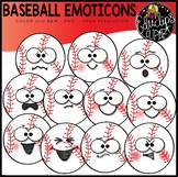 Baseball Emoticons Clipart Set {Educlips Clipart}