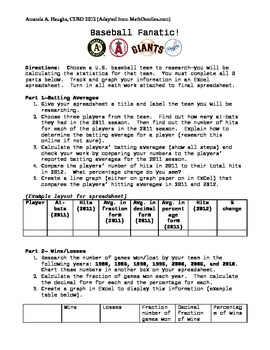 Baseball Fanatic (real-life math, stats, decimals, percents)