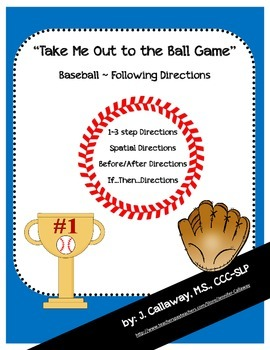 "Baseball ~ Following Directions ""Take Me Out to the Ball Game!"""