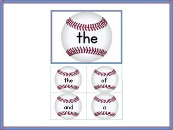 Baseball Fry 1st 100 High Frequency Words / Sight Word Flashcards and Posters