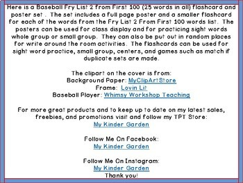 Baseball Fry List 2 From 1st 100  High Frequency Sight Word Flashcards & Posters