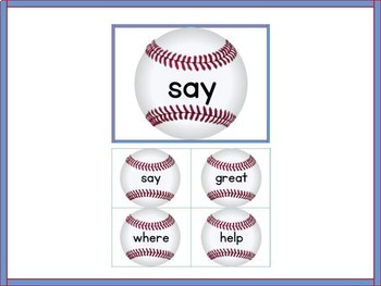 Baseball Fry List 2 From 2nd 100  High Frequency Sight Word Flashcards & Posters