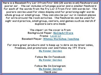 Baseball Fry List 3 From 1st 100 High Frequency Sight Word Flashcards & Posters