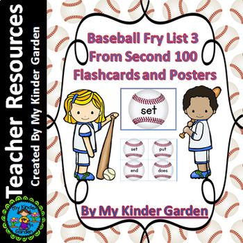 Baseball Fry List 3 From 2nd 100  High Frequency Sight Word Flashcards & Posters