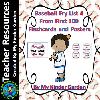 Baseball Fry List 4 From 1st 100  Sight Word Flashcards an